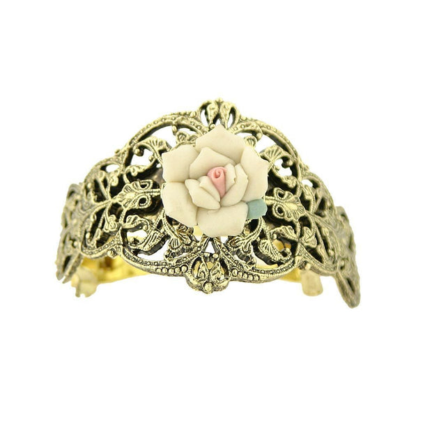 Gold Tone Ivory Porcelain Rose Ponytail Holder