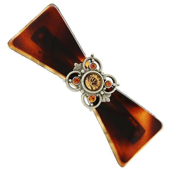 Brown Tortoise With Silver Tone And Lt. Topaz Color Accent Barrette