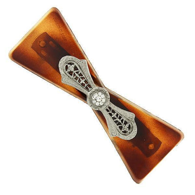Brown Tortoise with Silver-Tone Filigree and Crystal Accent Barrette