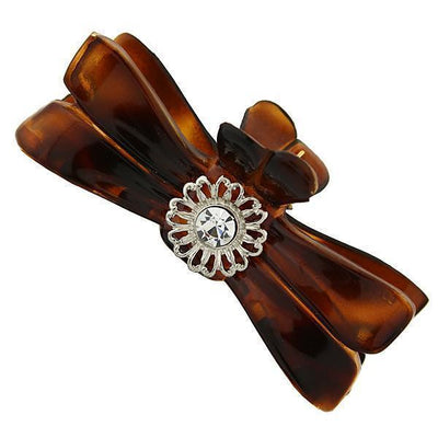 Brown Tortoise With Silver Tone Filigree And Crystal Accent Small Claw Hair Clip
