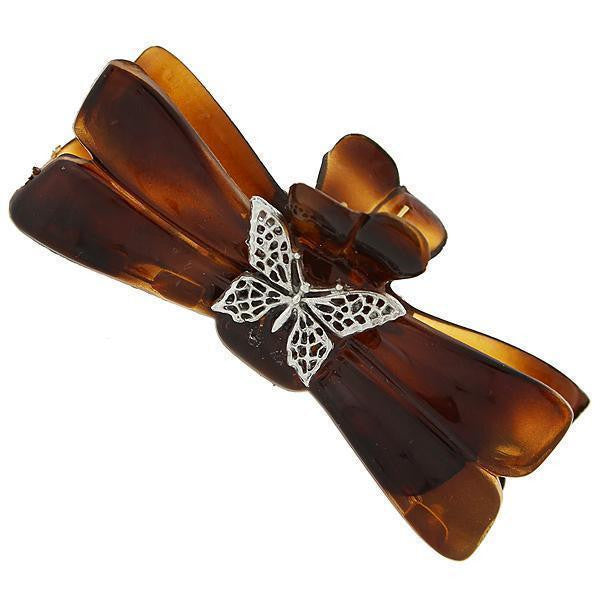 Brown Tortoise With Silver Tone Butterfly Filigree Small Claw Hair Clip