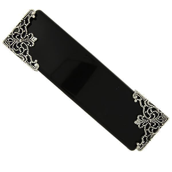 Black with Silver-Tone Filigree Accent Bar Barrette