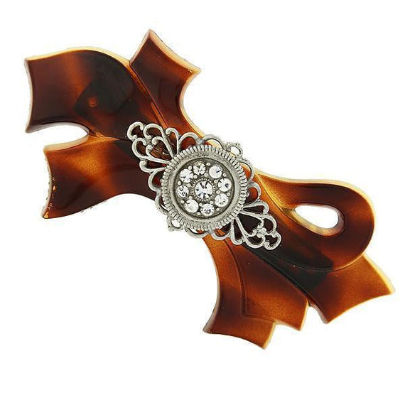 Brown Tortoise with Silver-Tone Filigree and Crystal Accent Bow Barrette