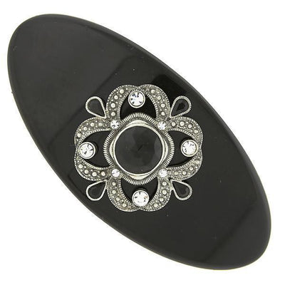 Large Black and Silver-Tone Filigree and Crystal Accent Barrette
