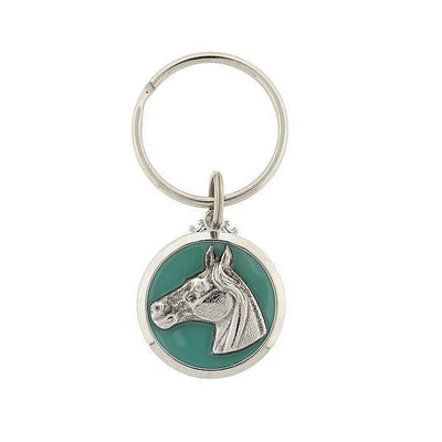 Silver Tone Horse Enamel Turquoise Color Key Chain