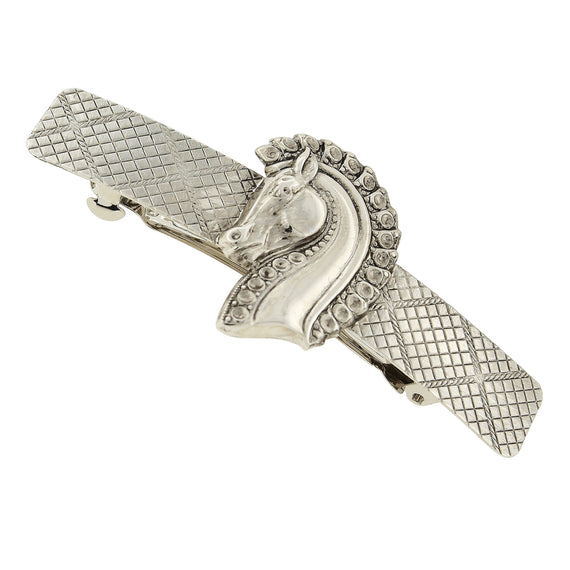 Silver-Tone Horse Head Hair Barrette