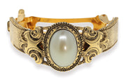 1928 Jewelry Gold-Tone Oval Stone Ponytail Holder