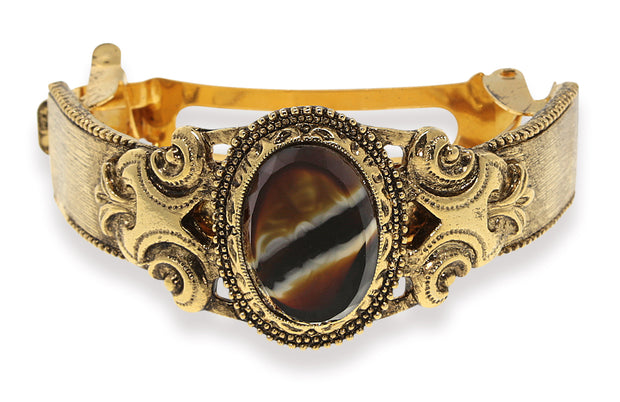 Gold Tone Black Stone Ponytail Holder