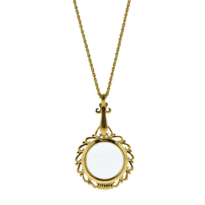 Gold Tone Magnifier Pendant Necklace 32 In