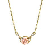 14K Gold-Dipped Pink Porcelain Rose Necklace 16 - 19 Inch Adjustable
