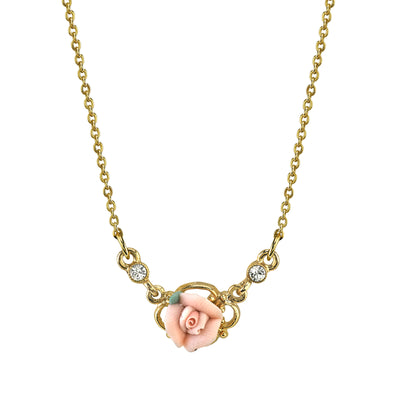 14K Gold Dipped Pink Porcelain Rose Necklace 16   19 Inch Adjustable