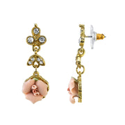 14K Gold Dipped Pink Porcelain Rose And Crystal Drop Earrings
