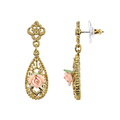 14K Gold Dipped Pink Porcelain Rose Drop Earrings