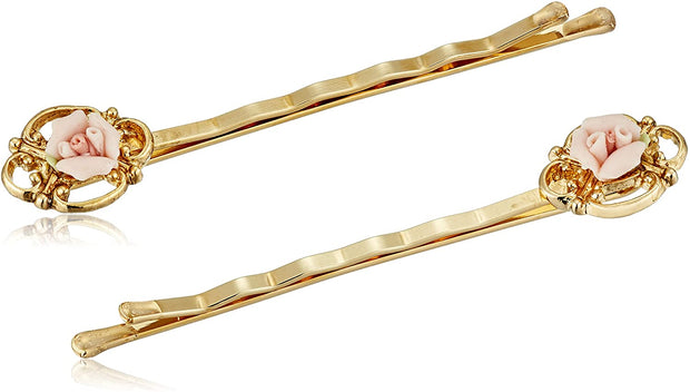 14K Gold-Dipped Pink Porcelain Rose Hair Bobby Pins