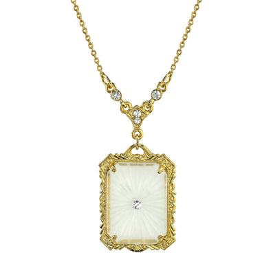 14K Gold Dipped Frosted Lalique Inspired Square Pendant Necklace 16   19 Inch Adjustable