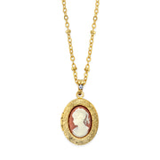 14K Gold-Dipped Oval Cameo Locket Necklace 16 Inch