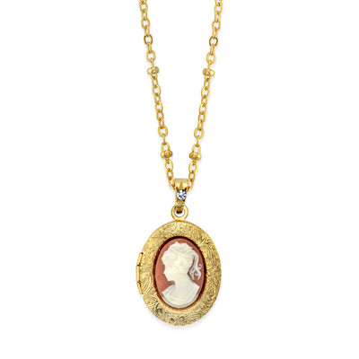 14K Gold-Dipped Oval Cameo Locket Necklace 16 In
