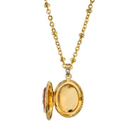 Boxed Gold Tone Oval Cameo Locket Necklace 16 Adj
