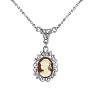 Silver Tone Oval Cameo With Crystal Drop Necklace 16   19 Inch Adjustable