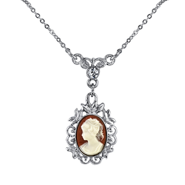 Silver-Tone Oval Cameo With Crystal Drop Necklace 16 - 19 Inch Adjustable