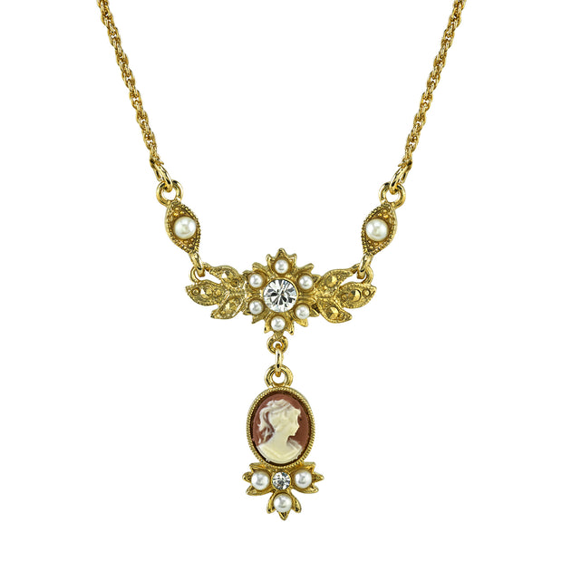Gold Tone Oval Cameo Drop with Crystal Necklace 16 In