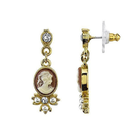 Gold Tone Oval Cameo Faux Pearl and Crystal Drop Earrings