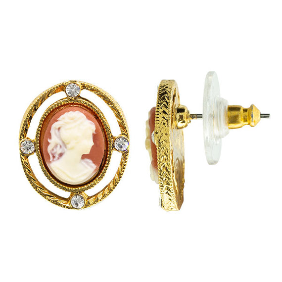 Gold Tone Oval Cameo with Crystal Stud Earrings