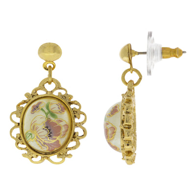 14K Gold Dipped  Flower Decal Oval Drop Earrings