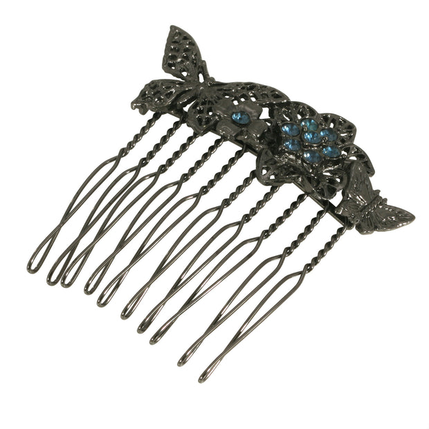 Black Tone Floral Small Hair Comb With Blue Swarovski Crystals
