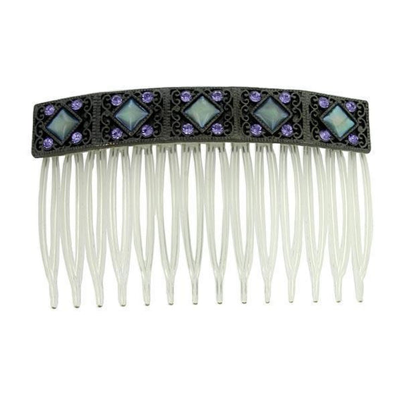 Black-Tone Purple and Blue Iris Costume Mother Of Pearl Hair Comb