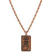 Copper Tone Save A Life Dog Tag 32 In