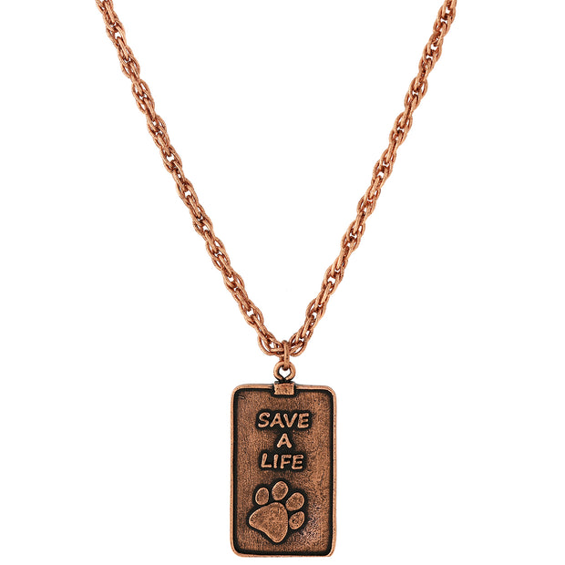 Copper Tone Save A Life Dog Tag Necklace 32 Inches