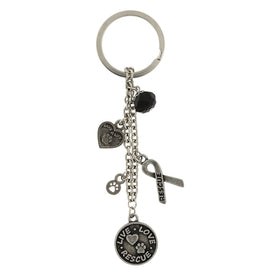 Silver Tone Live Love Rescue Ribbon Heart Charms Key Fob