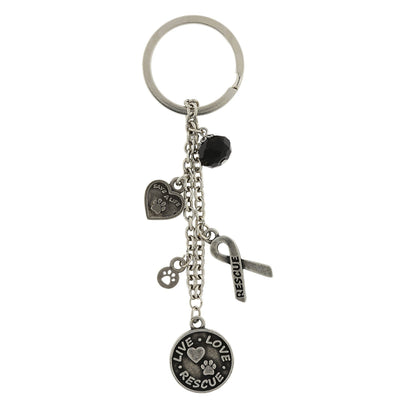 Silberfarben Live Love Rescue Ribbon Herz Charms Key Fob