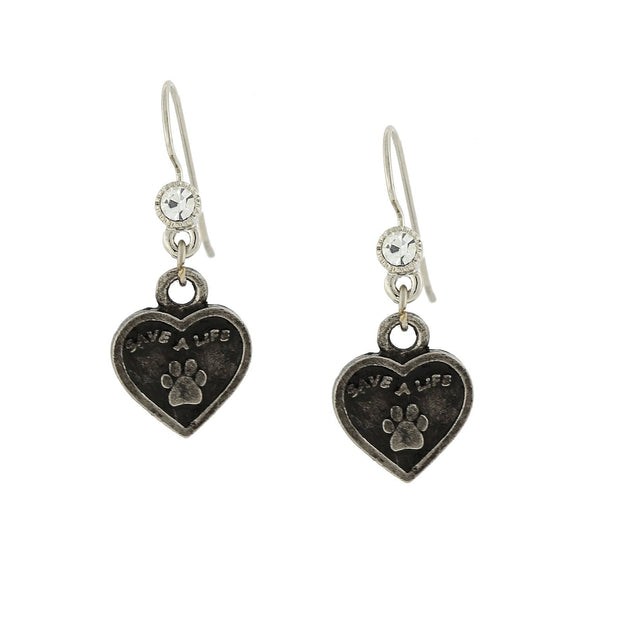 Silver Tone Save A Life Heart Earrings