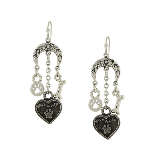 Silver Tone Save a Life Heart Bone Paw Charm Earrings