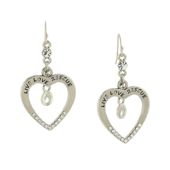 Silver Tone Open Heart Live Love Rescue Earrings