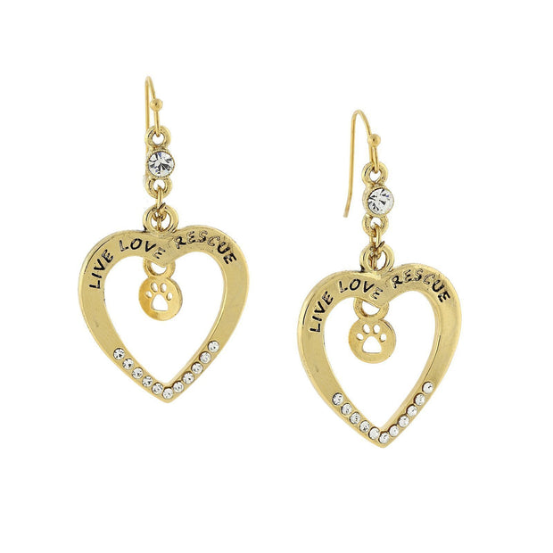Gold Tone Open Heart Live Love Rescue