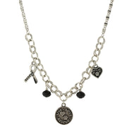 Silver Tone Black Bead Live Love Rescue 16 - 19 Inch Adjustable