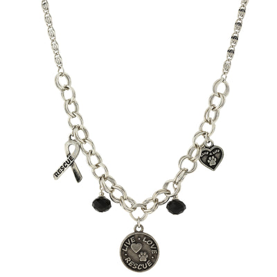 Silver Tone Black Bead Live Love Rescue 16 In Adj
