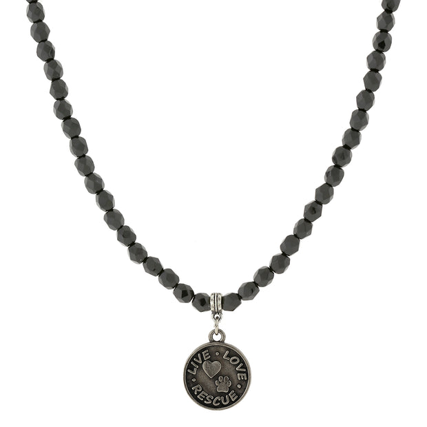 Silver Tone Black Bead Live Love Rescue Necklace 15 In Adj