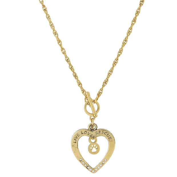 1928 Jewelry Live Love Rescue Open Heart Toggle Necklace 18 Inches