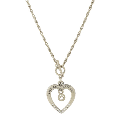 Silver Tone Live Love Rescue Open Heart Toggle Necklace 18 In