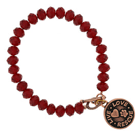 Copper Tone Red Beaded Live Love Rescue Toggle Bracelet