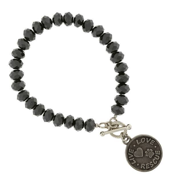 Silver Tone Black Beaded Live Love Rescue Toggle Bracelet