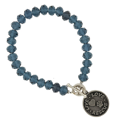Silver Tone Blue Beaded Live Love Rescue Toggle Bracelet
