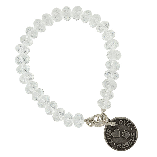 Silver Tone Clear Beaded Live Love Rescue Toggle Bracelet