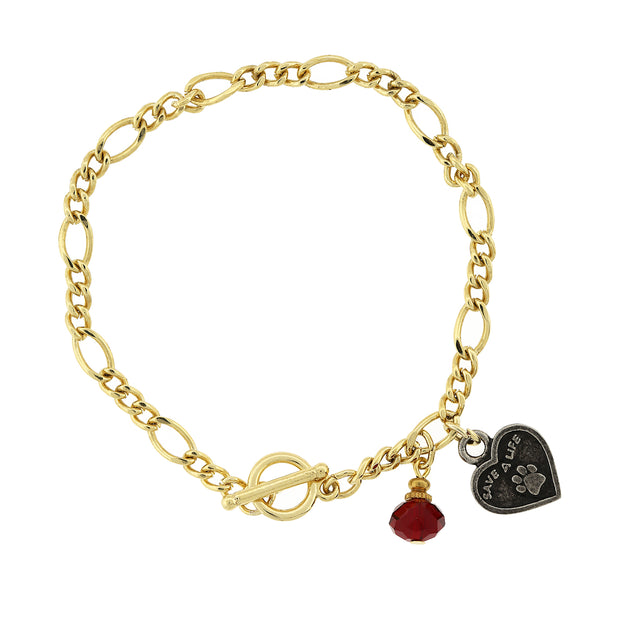 Gold Tone Save A Life Heart Toggle Bracelet