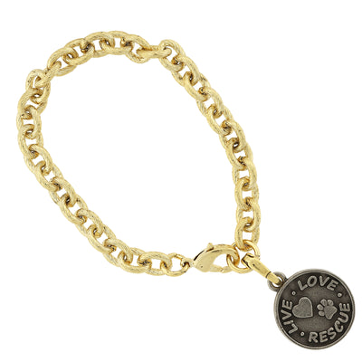 Goldton Runde Live Love Rescue Charm Armband