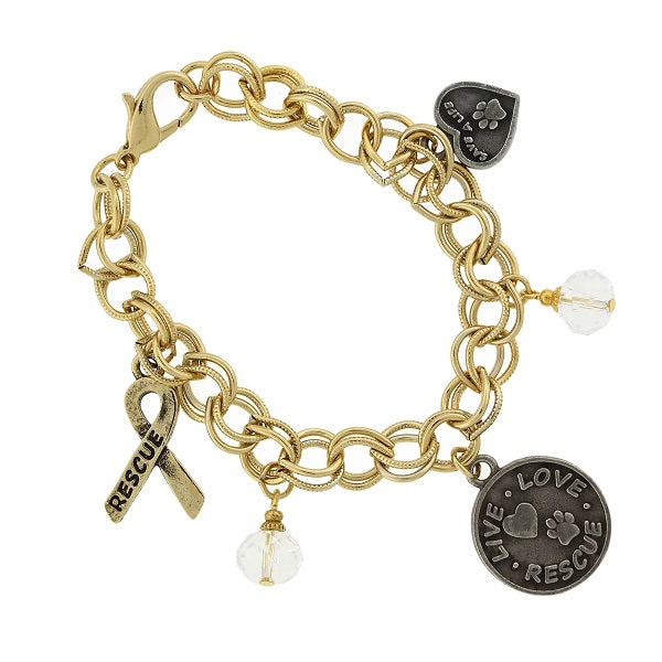 Gold Tone Heart Rescue And Live Love Rescue Charm Bracelet